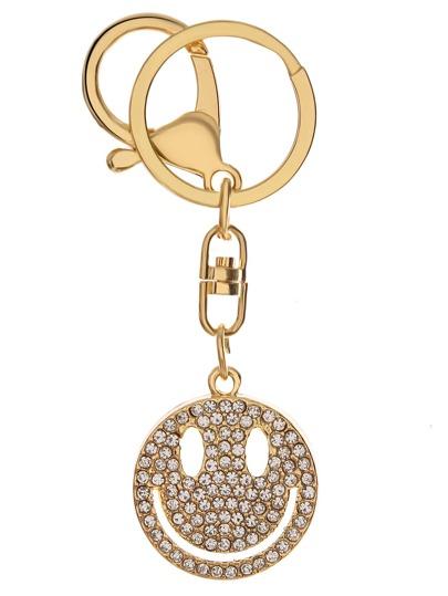Gold Rhinestone Encrusted Smiley Face Keychain