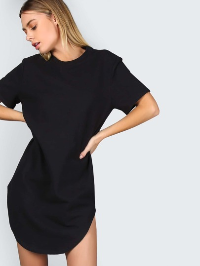 Black Splash Print Curved Hem Distressed Tee Dress