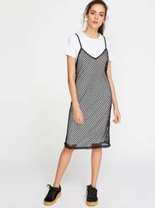 Contrast Fishnet 2 In 1 Cami Dress