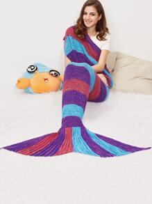 Color Block Marled Knit Mermaid Tail Blanket