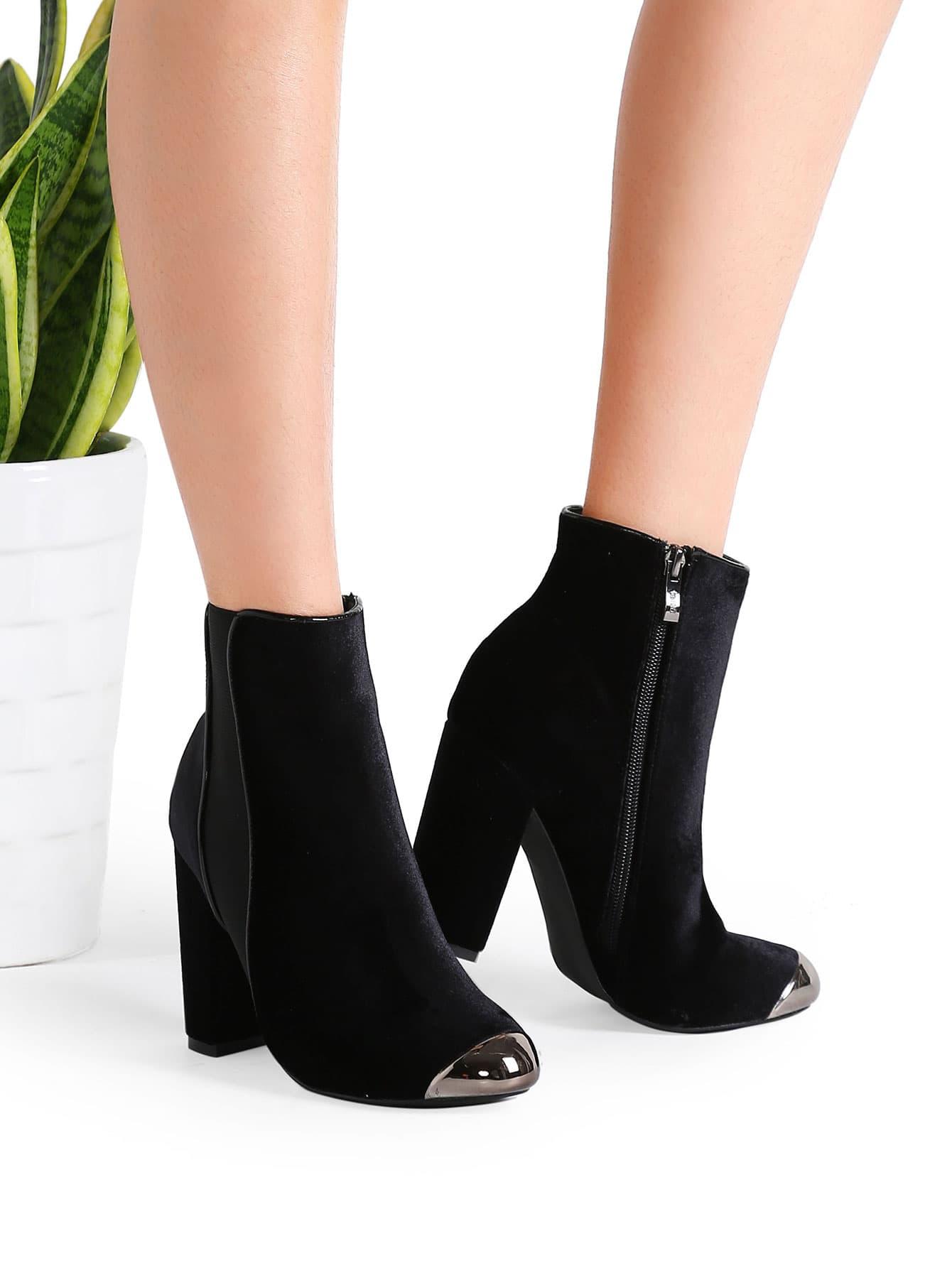 black velvet point toe chunky heel ankle boots shein sheinside. Black Bedroom Furniture Sets. Home Design Ideas