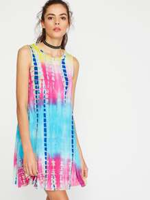 Multicolor Tie Dye Print Tank Dress