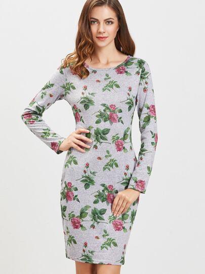 Серое модное платье с цветочным принтом