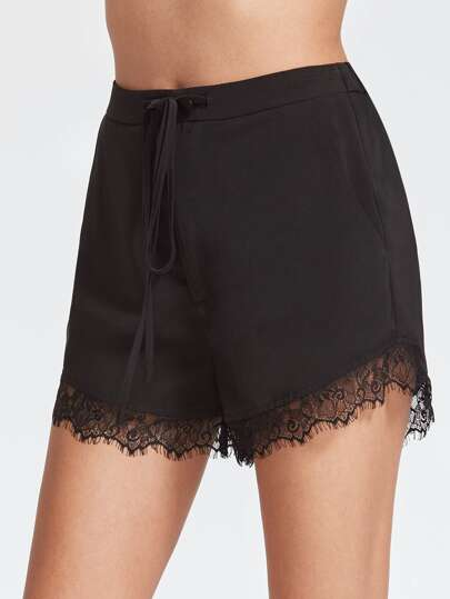 Lace Trim Drawstring Waist Shorts