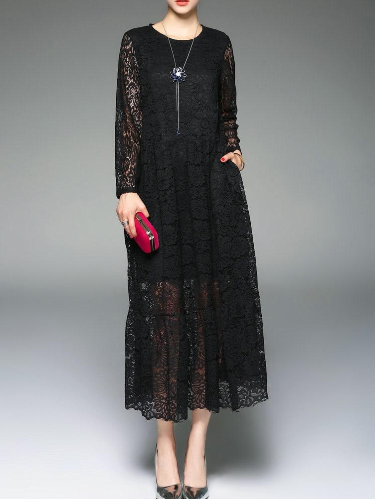 Фото Black Mesh Lace Long Dress. Купить с доставкой