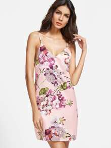 Pink Flower Print Cami Dress