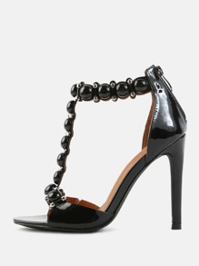 Open Toe High Shine T-Strap Beaded Heels BLACK