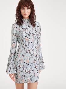 Botanical Print Tied Open Back Trumpet Sleeve Dress