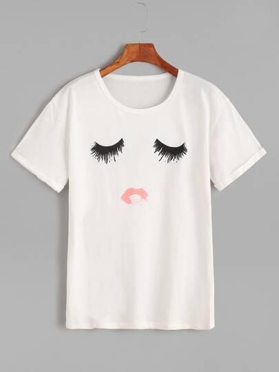 White Eye Print Roll Cuff T-Shirt