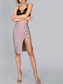 Double Button Bandage Slit Midi Skirt MAUVE