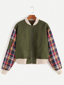 Army Green Contrast Plaid Sleeve Zip Up Bomber Jacket