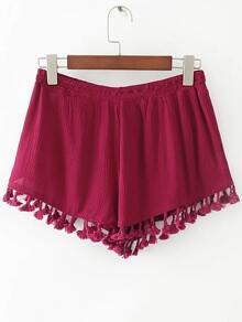 Pantalones cortos con cintura elástica y flecos - rojo