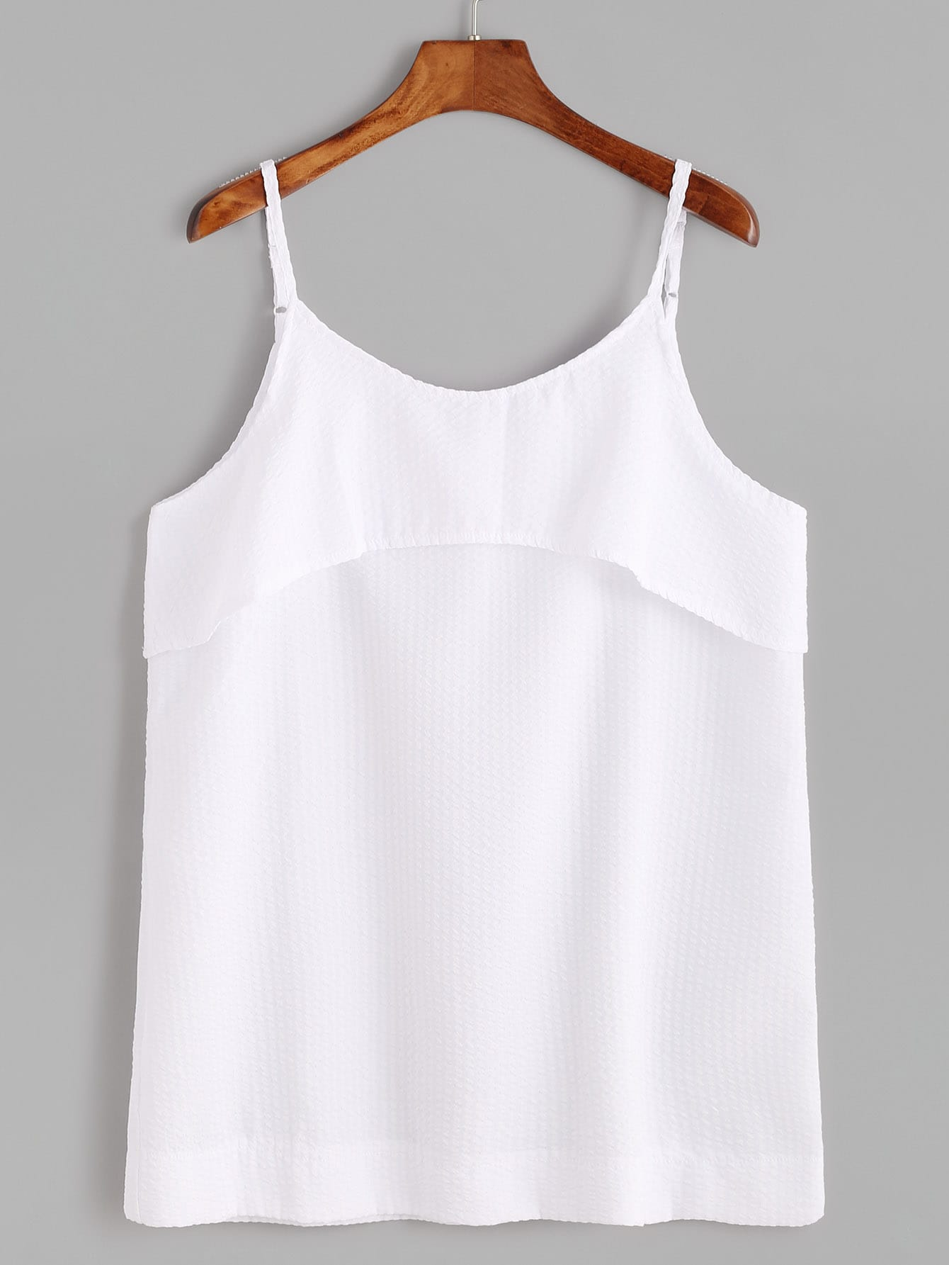 White Spaghetti Strap Layered Cami Top vest170105136