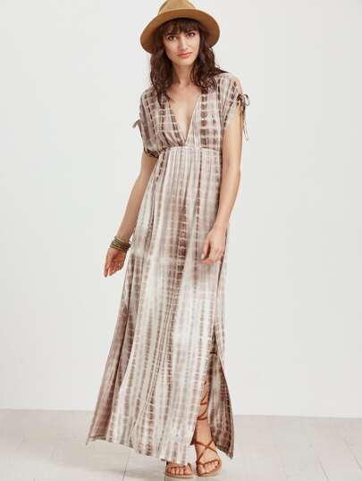 Tie Dye Print Double V Neck High Waist Dress