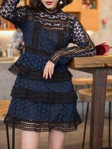 Navy Crochet Hollow Out Sheath Dress