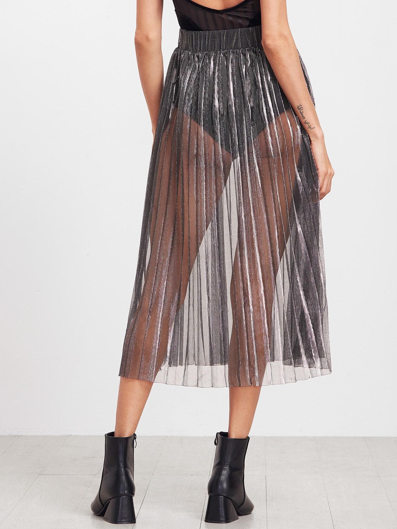 sheer see through pleated skirt shein sheinside