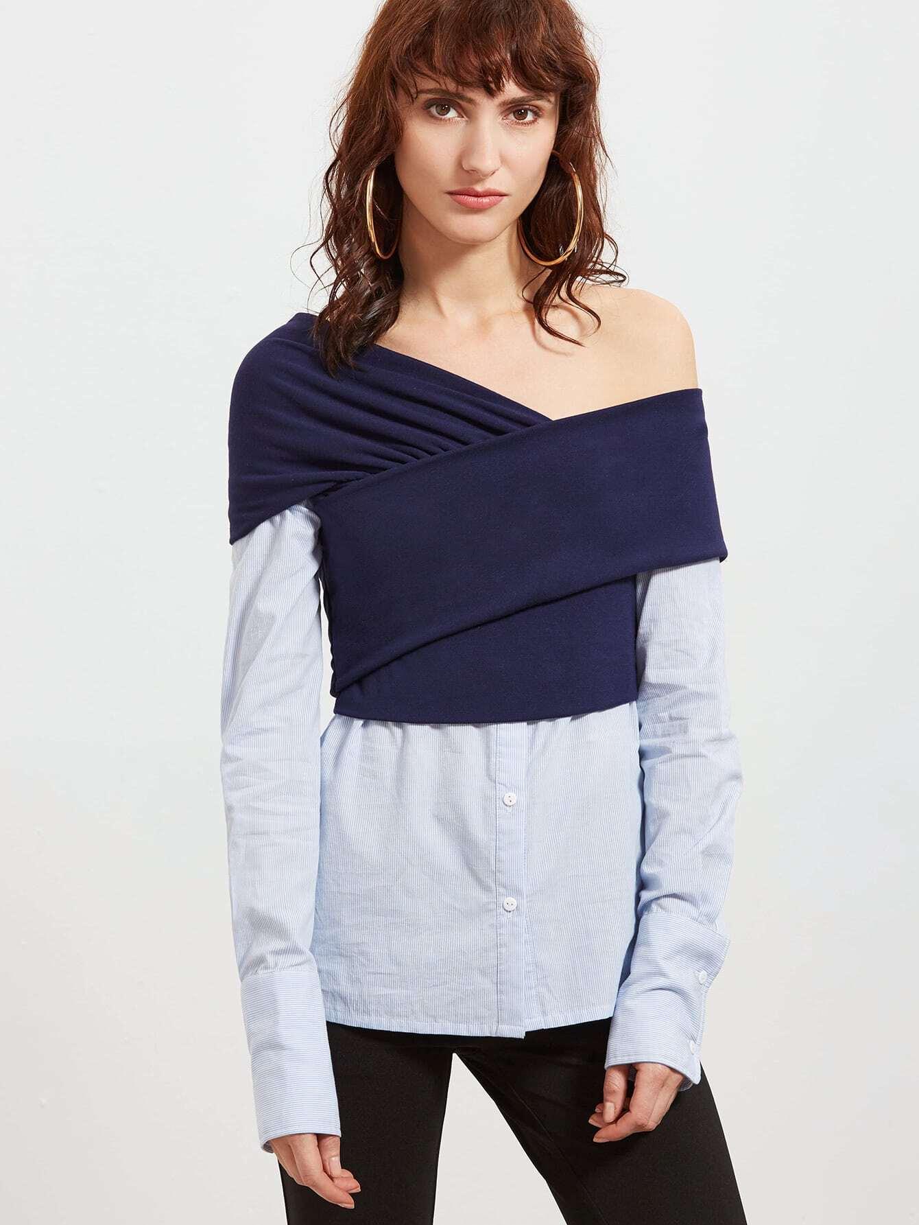 Фото Contrast Cross Wrap Asymmetric Off The Shoulder 2 In 1 Blouse. Купить с доставкой