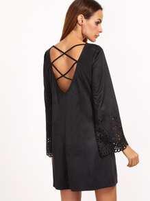 Black Laser Cut Out Criss Cross Back Suede Dress