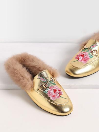 Gold Rose Embroidered Fur Trim Loafer Slippers