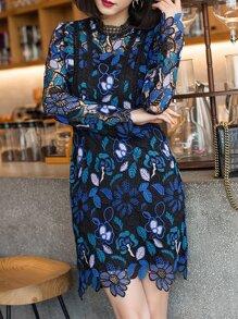 Black Crochet Hollow Out Sheath Dress