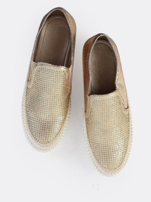 Tweed Trim Rhinestone Slip On Sneakers GOLD