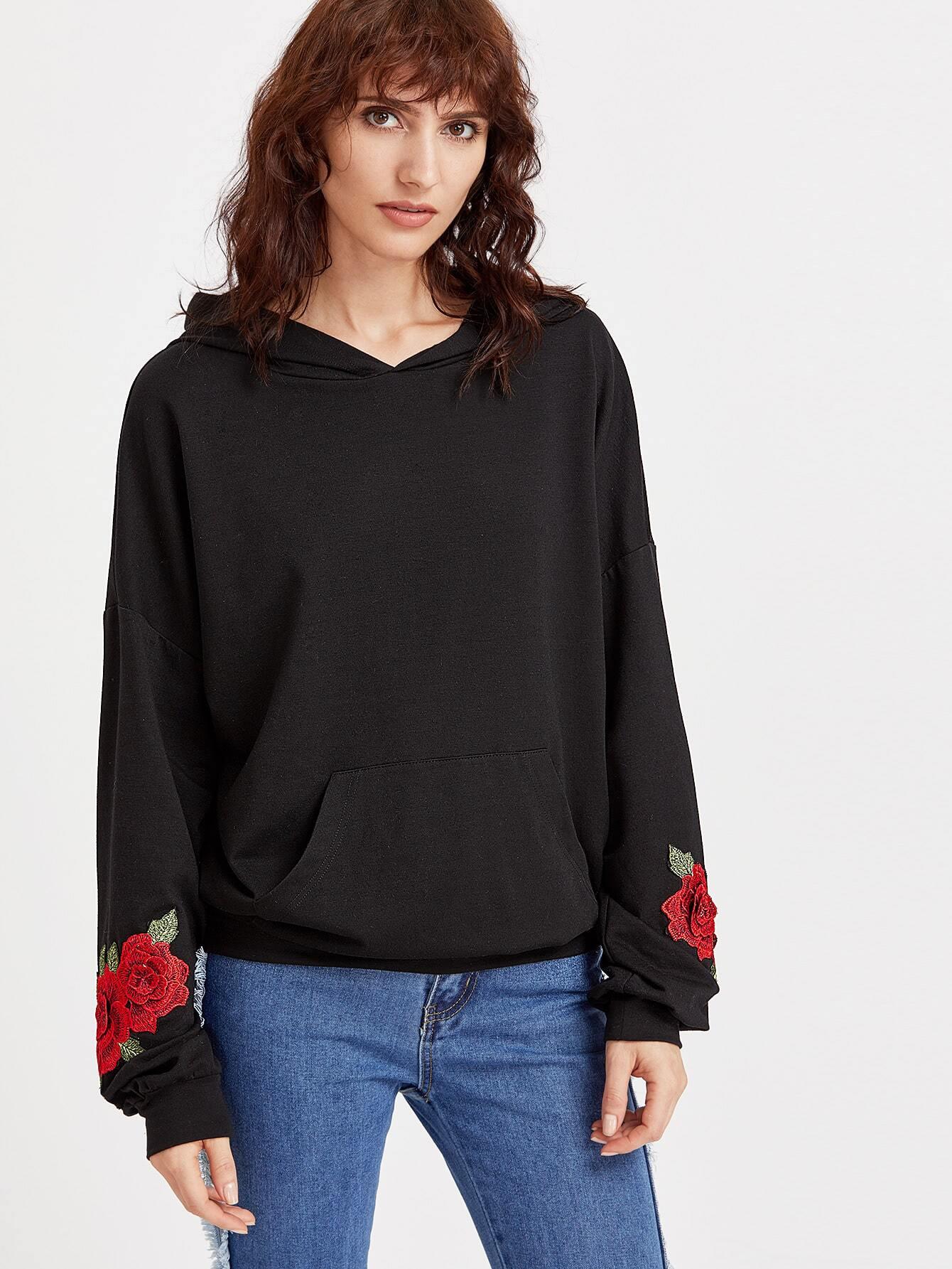 Black drop shoulder embroidered rose applique hoodie