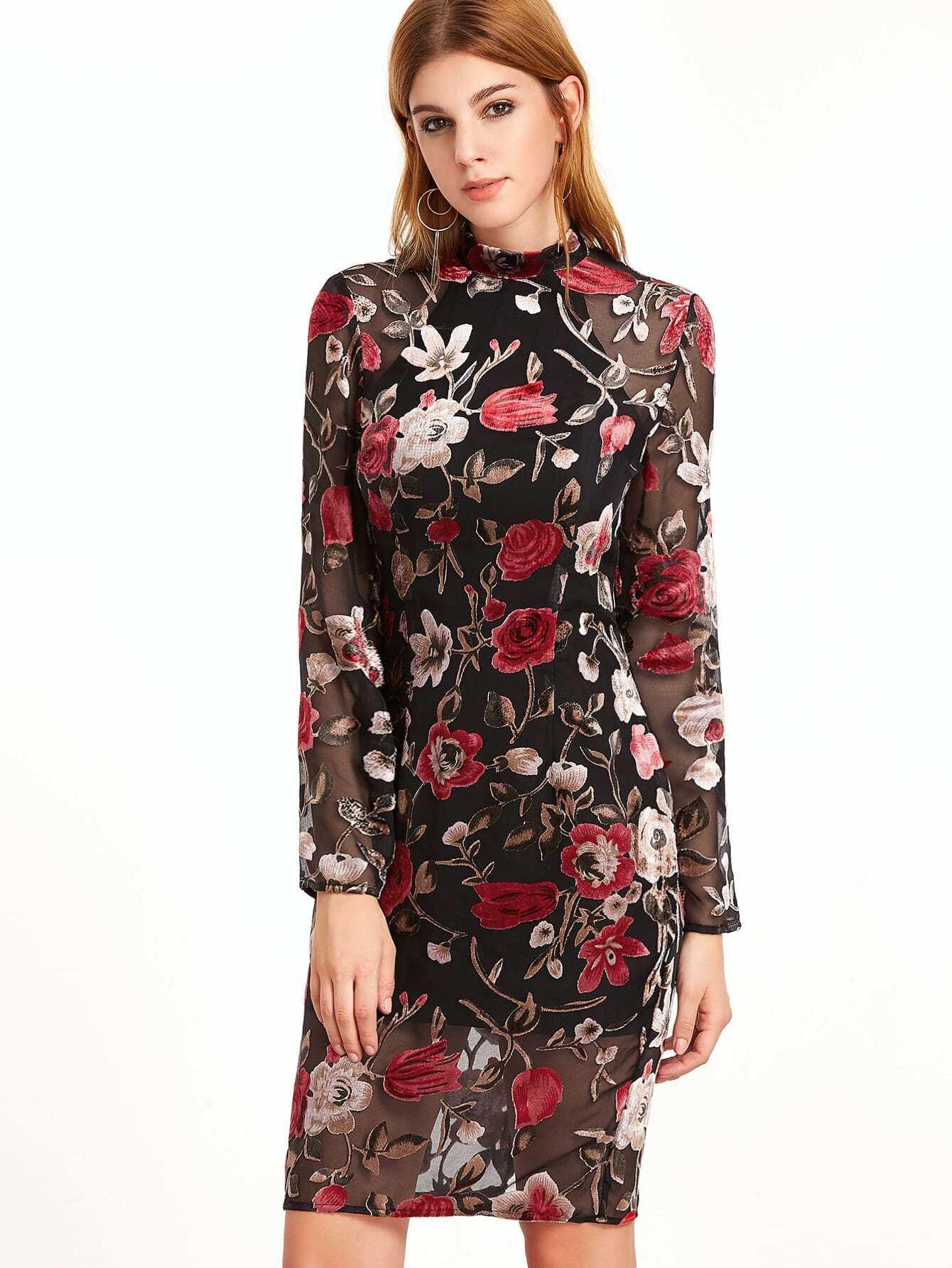 Flower Print Organza Overlay Sheer Dress