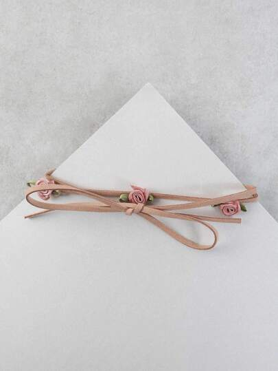 Floral Bud Leather Wrap Choker PINK