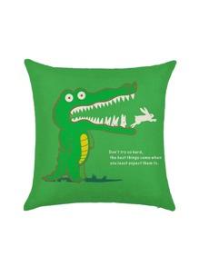 Funda de almohada con estampado de animal y frase - verde