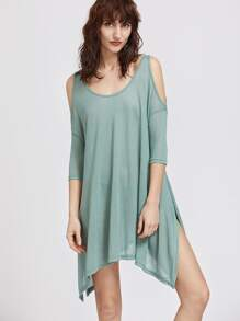 Green Cold Shoulder Split Side Asymmetrical Dress