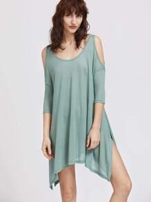 Green Cold Shoulder Split Side Asymmetrical Dress