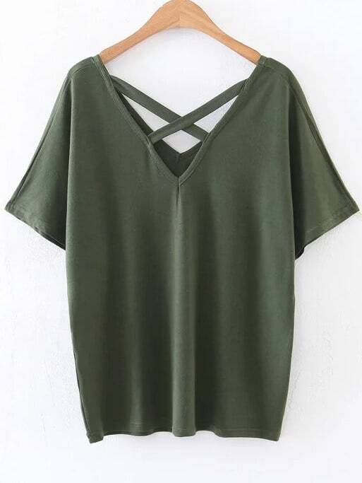 Criss Cross V Neckline T-Shirt tee170112217