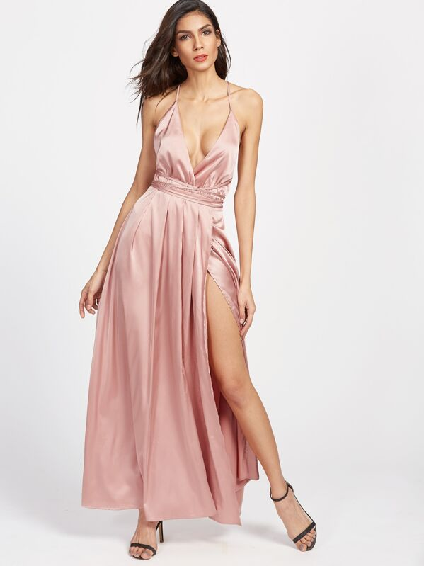 Cross Back High Split Satin Maxi Slip Dress, Lais
