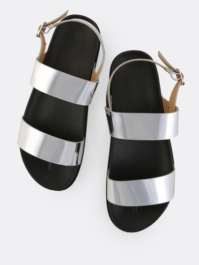Metallic Duo Strap Sandals SILVER