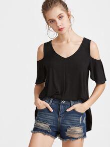 Camicia asimmetrica-spalla - nero