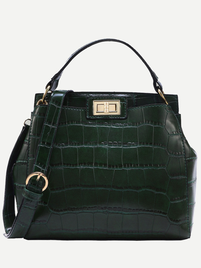 Crocodile Embossed Double Turnlock Satchel Bag
