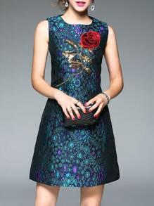Blue Sequined Jacquard Shift Dress