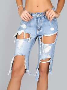 Distressed Cutout Frayed Hem Jeans