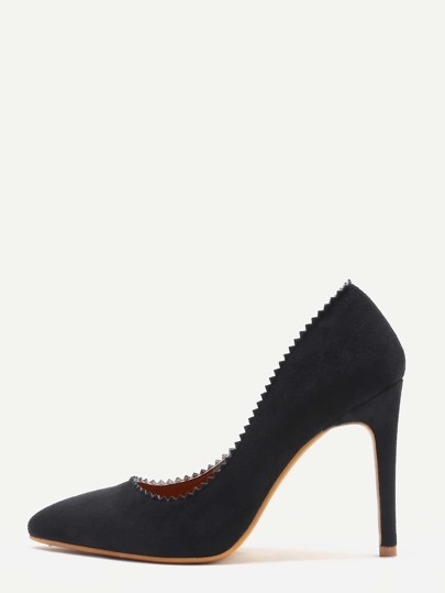 Black Suede Serrated Edge Point Toe Heeled Pumps