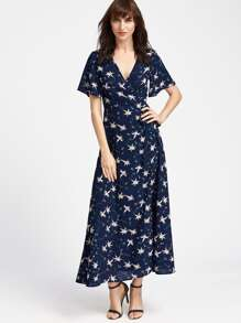 Navy Flower Print Surplice Wrap Long Dress