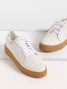 Zapatos de cuero con cordones - gris claro