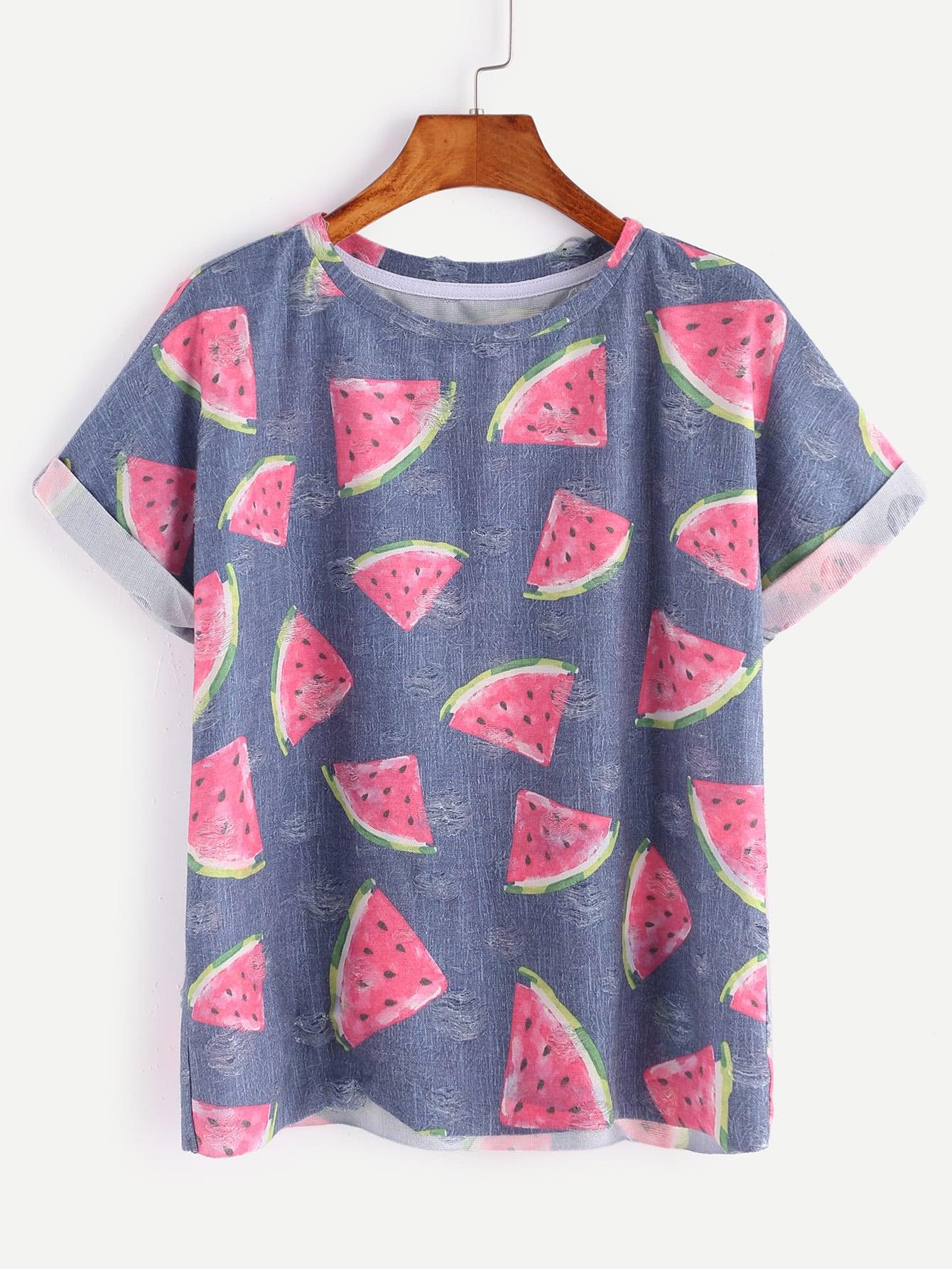 Allover Watermelon Print Frayed Dot Cuffed Tee graphic print cuffed tee