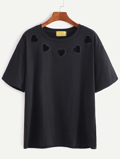 Black Hearts Embroidered Hollow T-shirt