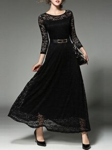Black Belted Lace Maxi Dress