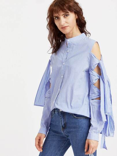 Blue Striped Band Collar Tied Split Sleeve Blouse