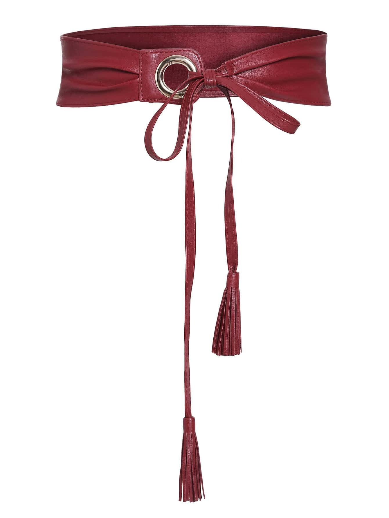 Red Eyelet Tassel Tie Faux Leather Waist BeltRed Eyelet Tassel Tie Faux Leather Waist Belt<br><br>color: Red<br>size: None
