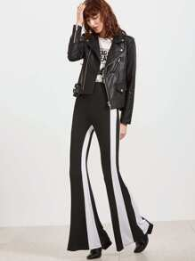 Black Contrast Striped Flared Pants