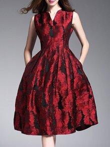 Red V Neck Jacquard Pockets A-Line Dress