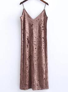 Khaki Slit Velvet Cami Dress