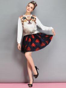 Navy Heart Print Contrast Mesh Skirt